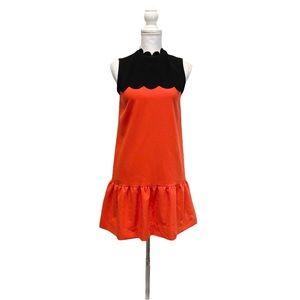 VICTORIA BECKHAM XS Black Orange Peplum Dress